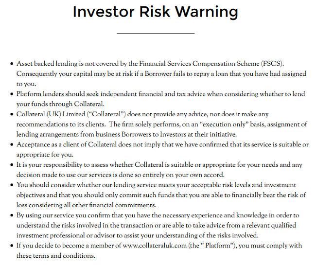 Collateral-risk-warning